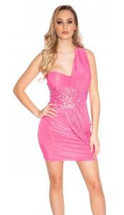Sexy Goddess One-Shoulder Mini Dress Fuchsia