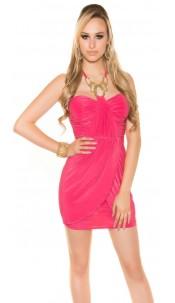 Sexy Goddess-Minidress with Rhinestone-Strap Fuchsia