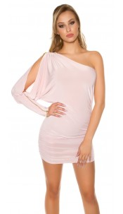 Sexy asymmetrical mini dress with zip on sleeve Antiquepink