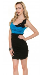 Sexy minidress with fabric flower and pearls Turquoise