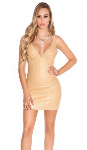Sexy Party - mini dress in leather look Beige