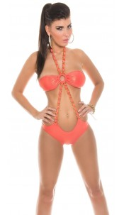 Sexy bandeau monokini with chain and glitter Coral