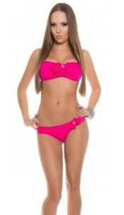Sexy Neckholder Bikini w. bow and rhinestones Fuchsia