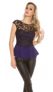 Trendy Koucla Top with peplum and lace Navy