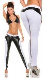 sooo Hot! Koucla Letherlook Pant with PushUp Look White