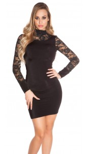 Sexy Minidress with lace, gathered Black