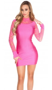 Sexy Minidress with lace, gathered Fuchsia