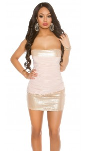 Sexy bandeau minidress with seqiuns Antiquepink
