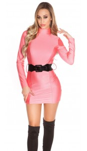 Sexy Minidress backfree with belt Neonfuchsia