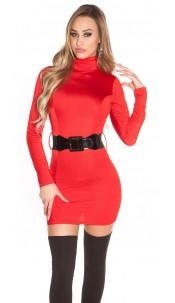 Sexy Minidress backfree with belt Red