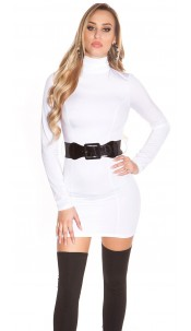 Sexy Minidress backfree with belt White