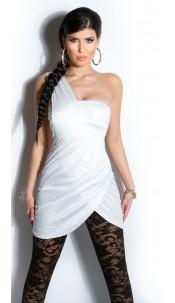 Sexy Oneshoulder minidress, gathered White