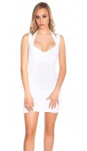 Sexy Minidress with neckstraps, gathered White