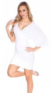 Sexy Minidress in wrap-look White