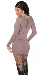 Sexy KouCla knitdress with embroidery +rhinestones Taupe