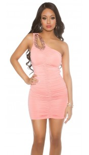 Sexy One-Arm-Minidress with sparkling Stones Apricot