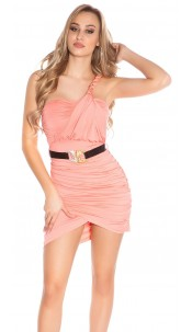 Sexy One-Arm-Minidress with belt Coral