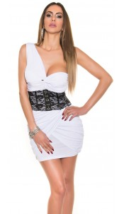 Sexy OneShoulder Mini Dress with Corsage-Look White