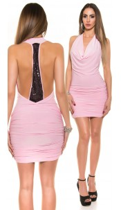 Sexy Minidress with cowl neck and open back Pink