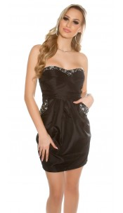 Sexy Bandeau-Cocktaildress with pockets Black
