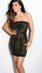 Sexy Bandeau-minidress with studs Black
