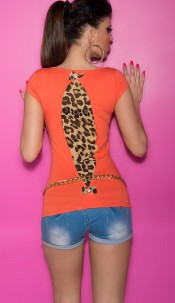Sexy KouCla Shirt with Leo-Print and bows Coral