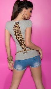 Sexy KouCla Shirt with Leo-Print and bows Lightgrey