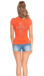 Trendy KouCla Shirt with Cross-Print and Lace Coral