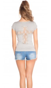 Trendy KouCla Shirt with Cross-Print and Lace Lightgrey
