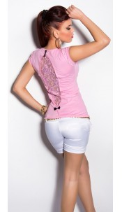 Sexy KouCla Shirt with sequin and rhinestones Pink