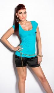 Sexy KouCla Shirt backfree with loops Turquoise