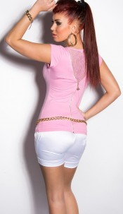 Sexy KouCla T-Shirt with lace and Zipper Pink