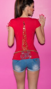 Sexy KouCla Shirt with Zips and Lace Red