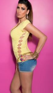 Sexy KouCla T-Shirt with rhinestones, open on side Yellow