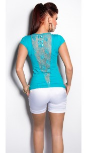 Sexy KouCla Shirt with loops and lace Turquoise