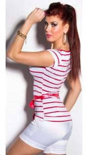 Trendy KouCla Shirt with Waistbelt Red