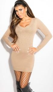 Sexy KouCla fineknit-minidress with rhinestones Beige