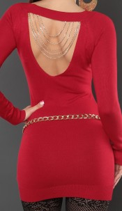 Sexy KouCla sweater with studs and chains Red