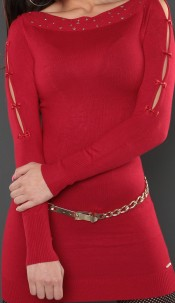 Sexy KouCla longsweater with bows Red