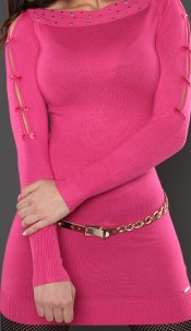 Sexy KouCla longsweater with bows Fuchsia