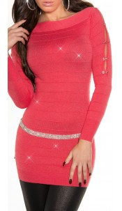 Fineknitted-minidress with glitter-effect Coral