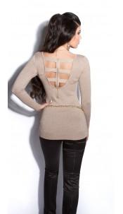 Sexy fijngebreide-lange sweater-trui met ritssluiting beige