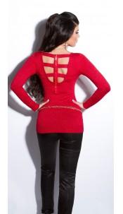 Sexy fijngebreide-lange sweater-trui met ritssluiting rood
