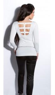 Sexy fijngebreide-lange sweater-trui met ritssluiting wit