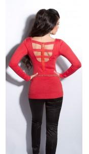 Sexy fijngebreide-lange sweater-trui met ritssluiting koraal-kleurig