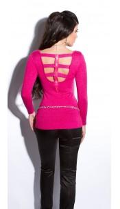 Sexy fijngebreide-lange sweater-trui met ritssluiting fuchsiaroze