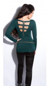 Sexy fijngebreide-lange sweater-trui met ritssluiting groen