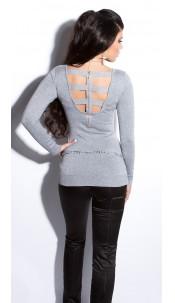 Sexy fijngebreide-lange sweater-trui met ritssluiting grijs