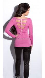 Sexy fijngebreide-lange sweater-trui met ritssluiting roze
