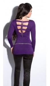 Sexy fijngebreide-lange sweater-trui met ritssluiting paars